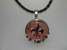 Fleur de Lis & Music Necklace Watch Case Pendant Brown Leather Cord Glass Beads