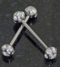 "7 clear paved gem nipple barbells Pair 14g 3/4"" length w/ 6mm ball"