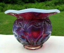 Fenton Plum Opalescent Inverted Strawberry Cuspidor/Rose Bowl Vase FAGCA1984 HTF