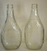 Two Clear Glass Log Cabin Syrup Bottles Diamond Pattern Different Styles Mid Cen