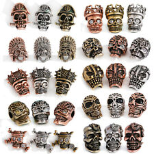 5/10pc Brass Micro Pave Bronze Skull Crystal Beads Loose Spacer Bead Craft DIY