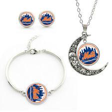 M77 New York Mets team logo set -necklace, bracelet, earrings-