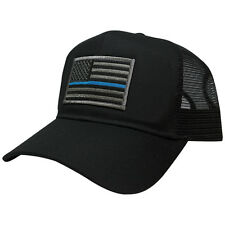 Thin Blue Line Police Law Enforcement Flag Embroidered Patch Trucker Cap