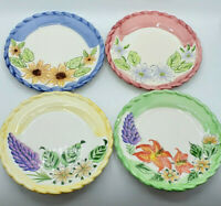 "Vintage Royal Norfolk Foral Salad Plates Set of 4 Autumn 8"" SUN FLOWERS SUMMER!"