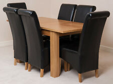 Hampton Oak 120cm Extending Dining Room Table & 6 Ivory Leather Montana Chairs Black