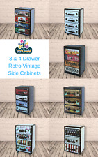 Retro Vintage 3 & 4 Drawer Storage Side Bedside Cabinet Free P+P - Choose Style