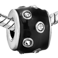 Pugster European charm bead- black with clear crystals
