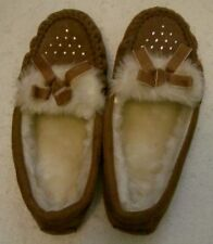 Suede Moccasin Slippers Faux Fur Lining, Trim, Rhinestones Women's Size S. (5-6)