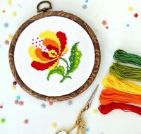 Floral Cross Stitch Kit For Beginners DIY Embroidery KIT For Kids Handmade Decor