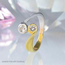 Ring in 585-/  Gelb - Weißgold mit 2 Diamanten ca. 0,20 ct. Wesselton / SI