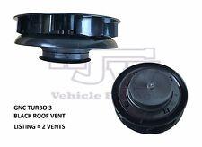 2 x Wind Driven Roof Vent BLACK Plastic Van Dog Vehicle Car Air Low Profile
