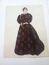 1924 Original Painting 1849 American Ladys Fashion Dress