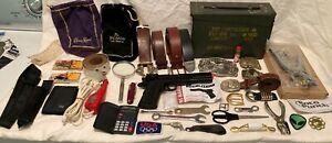 JUNK DRAWER LOT - AMMO BOX, LEATHER BELTS & BUCKLES, EQUALIZER. KNIFE, VINTAGE
