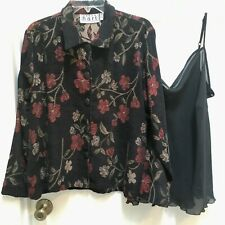 Keren Hart Tapestry Jacket size XL and Notations sheer black Camisole