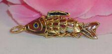 Vintage Cloisonne Enamel Articulated Fish Pendant Copper & Gold Tone Koi lot #9