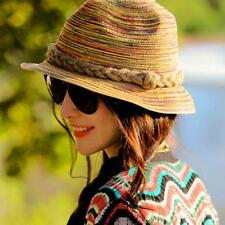 Women Summer Straw Sunhat Lady Derby Short Brim Hat Bohemian Hats Beach Wear Cap