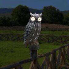 Solar Bird Scarecrow Fake Horned Owl Decoy, Bird Repellent Garden Protectors