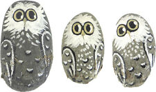Hand Painted Rocks Owl Lot of 3 Different Acrylic Oval 2 3/4 Inch 2 Inch