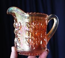 Vintage Marigold Carnival Glass Jug By IMPERIAL Glass LUSTRE ROSE Pattern