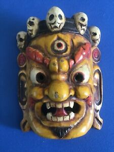 """Lovely vintage wooden devil face mask Tribal hand carved & painted   """"India """""""