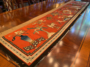 A Chinese Qing Dynasty Embroidered Silk Altar Frontal