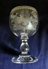 French Glass Presentaion Joujours Fidele Hand Engraved Hand Blown Pontil 03457