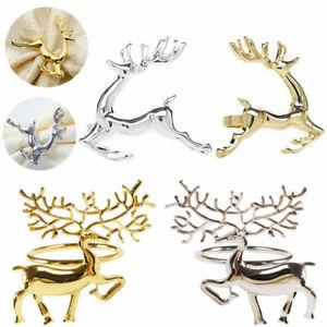 6/12Pcs Deer Metal Ring Napkin Holder Dinner Wedding Towel Xmas Ring Gold/Silver