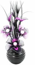 Black Vase with Purple and Black Nylon Artificial Flowers Fake Flowers Ornaments