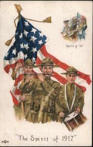 Patriotic 1908 The Spirit of 1917 Postcard 2c stamp Vintage Post Card