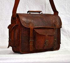 Mens Genuine Vintage Leather Messenger / Laptop Accessories Briefcase Satchel@