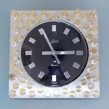 SCHATZ ELEXACTA Wall Clock TOP Germany Mid Century CUT Brass Dial Glass 1970's
