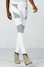 NWT TRUE RELIGION Women's Mid-Rise Moto Skinny Jeans in White and Grey Sz25 $268