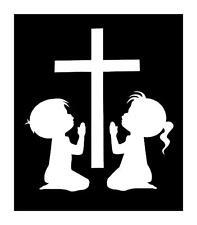 KIDS PRAYING CROSS BOY GIRL RELIGOUS 6X7 VINYL CAR WINDOW DECAL STICKER