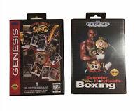 Sega Genesis Bundle Holyfield's BOXING & Boxing Legends Carts Boxes Manuals  CIB
