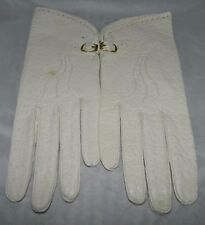 VTG NOS Cream SUPERB Genuine Pigskin Leather Tailored Gloves Size 6.25