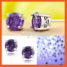 9K 9CT WHITE GOLD GF PURPLE AMETHYST CRYSTAL SOLID ROUND STUD EARRINGS JEWELRY