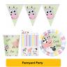 FARMYARD Pastel FARM ANIMALS (Tableware, Balloons and Decorations) (1C)