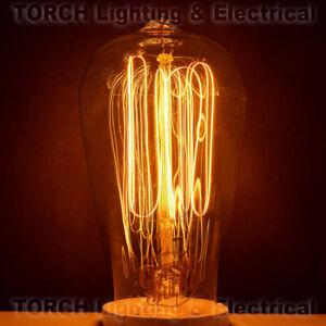 "Vintage ""Edison Look"" CLASSIC BULB ST58 Squirrel Cage Filament Bulb Lamp Light"