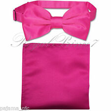 New Hot Pink Men's pre tied Bow tie & Pocket Square Hankie set wedding Prom
