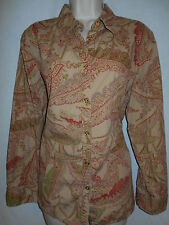 Chaps Blouse 2X Womens 18-20W Plus Shirt Top Tan Green Rust Floral 6p59