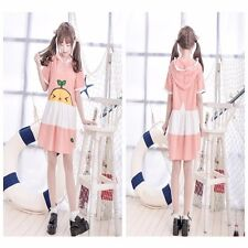 Lolita Cartoon Plaid Hooded Dress Style Pink Kawaii Girls' Skirt Home Wear