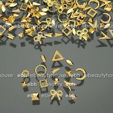 300 Pcs 15 Shapes Gold Metal Nail Art Decorations Studs Nails Accessories #E1028