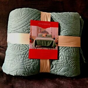 "Opalhouse Medallion Stitch Quilt King Size Bedspread 104"" x 92"" Dusty Jade NEW"