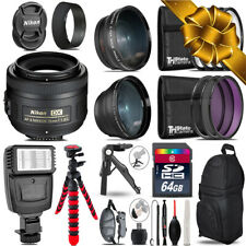 Nikon AFS 35mm 1.8 -3 Lens Kit + Slave Flash + Tripod - 64GB Holiday Gift Bundle