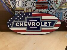 LARGE CHEVROLET USA FLAG RED LINE HEAVY EMBOSSED METAL SIGNN,SALES DEALER GARAGE