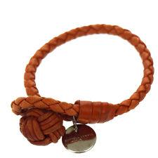 Auth Bottega Veneta Intrecciato Bracelet Bangle Silver 925 Leather Orange 07D497