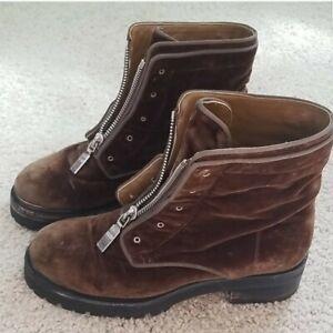 Alexander McQueen velvet combat boots, sz 38.5 / 8.5