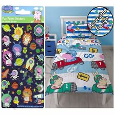 PEPPA PIG GEORGE SPEED SINGLE DUVET COVER SET + PEPPA GEORGE SMALL FOIL STICKERS