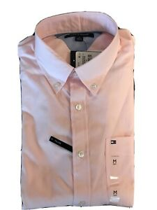 *NWT * Tommy Hilfiger THLUXE Pink Button Down Classic Fit Shirt Men's Size Large