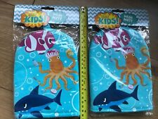 2x BAYLIS & HARDING KIDS WASH MITT SEA FISH OCTOPUS SHARK NEW BABY GIFT FLANNEL